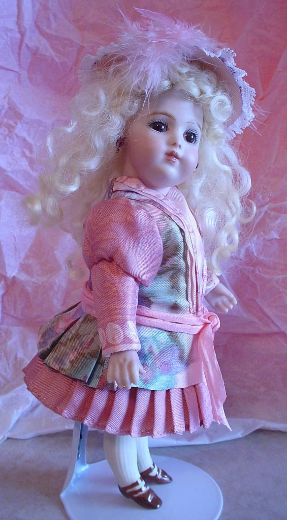 "7"" Bru Brevete wearing a Silk Scarf Doll Dress"